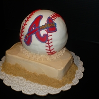 Braves Baseball Stacked cake - baseball is yellow and home base is chocolate