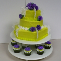 Bold Green And Purple Cake With Cupcakes sugar flowers, royal icing lace, buttercream roses on cupcakes