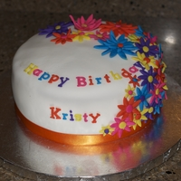 "Flower Birthday Cake Customer requested a ""bright"" cake. WASC with Strawberry SMBC."