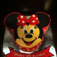 "Minnie Mouse Birthday Cake Ears Are Made With 6 Circle Pan And Face Is 9 Circle Pans Got The Idea From Someone Here On Cake Central And Minnie Mouse Birthday Cake. Ears are made with 6"" circle pan and face is 9"" circle pans! Got the idea from someone here on Cake..."