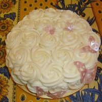 Rosettes And Butterflies Just a test cake for a pumpkin spice recipe with cream cheese frosting that was also used to fill the cake. Rosettes to cover the cake (...
