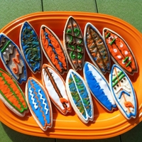 Surfboard Cookies NFSC with royal icing