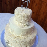 Lace Wedding Cake Cake done for my bil and sil. Wasc cake w buttercream and fondant details.