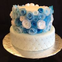 Blue Wafer Paper Roses Cake