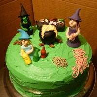 Macbeth's Three Witches Halloween Cake MacBetch Witches Halloween cakeHubble Bubble Toil and Trouble: all the ingredients can be found on the cake :)Rich chocolate cake with sour...