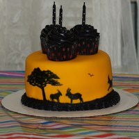 Gazelle/antelope Cake  My niece wanted a gazelle cake. I asked her if antelope would do, and she was OK with that. Found a couple of safari cakes here on CC (...
