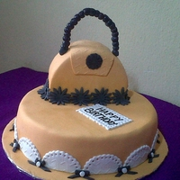 Handbag Cake Madiera cake, covered wit fondant.