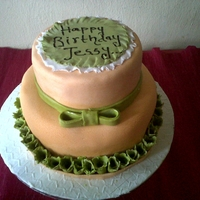 Birthday Cake. Two tiered fruit cake covered wit fondant.Roses re made from flower paste.