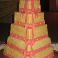Wedding Cake 5tiered wedding light fruit cake covered witt fondant.