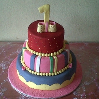 Birthday Cake. The 3cakes are different types of cakes,butter,chocolate and light fruit cake. Covered wit fondant.