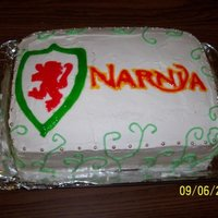 Narnia Birthday Cake one of my VERY first cakes that I made for my sister :) vanilla buttercream and cake, filled with strawberries and cream filling :D