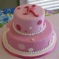 Pink Dots Cake An all pink cake for my girly-girl niece. Fondant covered, luster dust and sparkle dust brushed on dots.