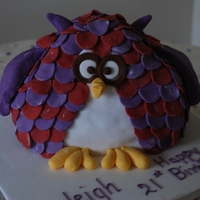 Owl Cake 3d owl decorated with red and purple sugar feathers