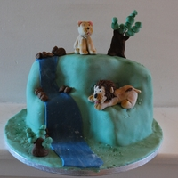 Lion Birthday Cake Idea taken from the lion king thought I would do a hill scene, not sure about the trees though
