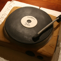 Record Player Cake I made this cake for my friends b-day. Filling blackcurrant jam and chocolatemousse :P Covered with fondant.