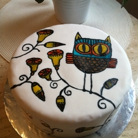 Handpainted Owl Cake Handpainted on fondant. Based on owl clipart I found online.