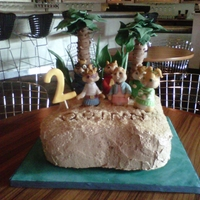 Alvin And Chipmunks Cake 1 Vanilla cake with chocolate IMBC, figures are RKT and modeling chocolate