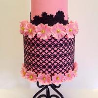 "Filigree In Pink And Black  When the all important question of ""can you make a pink cake that's not too girly"" for a 13 years old pops up, this was the..."