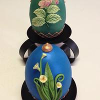 "Spring Themed Faberge Egg Eggs Are Made Out Of Rkt I Molded Into A Silicone Mold Covered With Modeling Chocolate Final Covering Was Do  Spring Themed Faberge' Egg. ""Eggs"" are made out of RKT I molded into a silicone mold, covered with modeling chocolate. Final..."