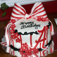 Alabama Cake Alabama themed girls birthday cake. Make anything red and white and stick an A on it and it becomes alabama themed I guess . lol.. but, I...