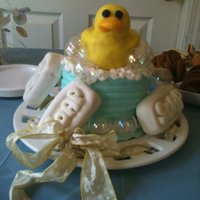 Rubber Duckie duck & soap bars are fondant cake is butter cream