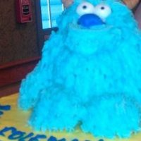 Sully Monsters Inc Smash Cake cake is all buttercream horns are fondant ( bad photo from cell phone )