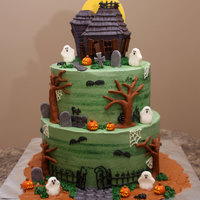 Haunted House For my husband's office halloween party. Cake was primarily inspired by one by Jacques Pastries and the house shape was from a cake by...