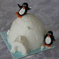 A Cake For My Daughters Teacher Its A Fruit Cake Covered In Fondant And Decorated With Fondant Penguins A cake for my daughter's teacher. It's a fruit cake covered in fondant and decorated with fondant penguins.