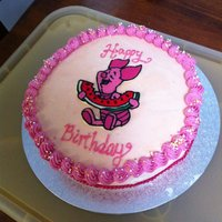 Piglet Birthday Cake My First Frozen Buttercream Transfer, on a chocolate cherry filled cake for my Birthday :)The transfer method was actually really easy and...