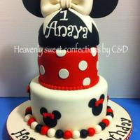 Minnie Mouse Theme Birthday Cake Minnie Mouse themed cake:)Top: Chocolate 6' cake with chocolate mousse filling & WASC cake on the bottom tiered. Covered in...