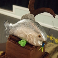 Fish Grooms Cake Chocolate cake with chocolate buttercream.. made for a groom who likes to fish.