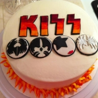 Kiss Cake Made this for a friend. She loves the rock band Kiss. I got the inspiration for this from a picture on pinterest.. It didn't list name...