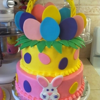 Easter Basket Birthday Cake inspiration from the pic on wilton's facebook page, i just changed it up a bit.. eggs on sides instead of dots and added Easter bunny...