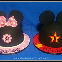 Minnie & Mickey Mouse Ears Cakes Minnie & Mickey Mouse Ears Cakes! Marble Cake w/chocolate buttercream.