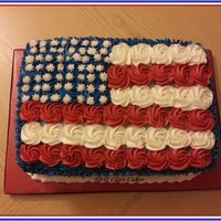 American Flag Cake A simple cake i made for my fam & friend for our 4th of july picnic. Inside of cake was also red, white & blue. ;-)Layers of...