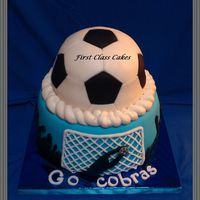 Soccer Cake Soccer ball was vanilla cake & bottom tier chocolate cake w/vanilla buttercream! ;)