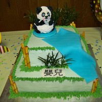 Baby Panda Shower Cake This is my first non-family cake. I made this for a dear friend who was married at the panda exhibit at the Memphis Zoo and the panda on...