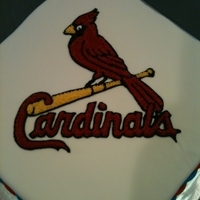 Stl Cardinals Birthday Cake This was my son's 13th Birthday Cake. Covered in fondant with BC image.