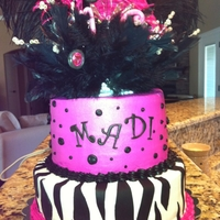 16Th Birthday Cake Cake is done in all BC with fondant zebra stripes (my first!)