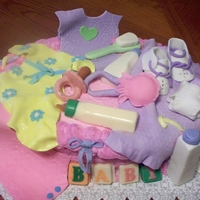 Baby Gift Basket Two Layer Oval Cake with Fondant Baby Gift Items