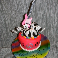 Rock Star   Fondant covered chocolate cake with Italian meringue buttercream filling.