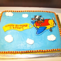 Toopy And Binoo Birthday Cake This cake I made for my son's 3rd birthday. 11x15 cake with buttercream icing. Picture of Toopy and Binoo in airplane is FBCT. Thanks...