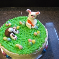 Easter Cake Here is my finished carrot cake with cream cheese frosting for Easter. This was the first time I made fondant toppers; I also used mini...