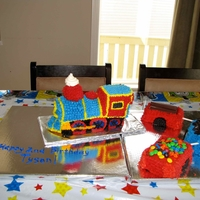 Train Cake This is a train cake I made for my friend's son on his 2nd birthday. I used the Wilton 3D pan and covered the cake in BC using the...
