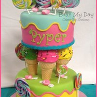 Candy Shoppe Double birthday cake for two sweet little girls. Cakes covered in fondant, with gum paste handmade candy, and cupcake ice cream cones