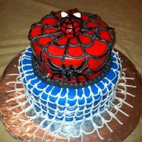 Spidey Cake Quick fondant and buttercream over a yellow butter cake whipped up for a church cake walk. Not too fancy, but compared to the store bought...