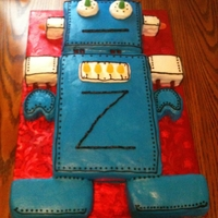 Robot Cake Chocolate & French Vanilla Cake with buttercream icing
