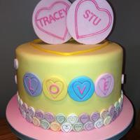 Love Heart Sweets Themed Engagement Cake *