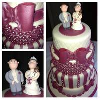Burgandy And Cream Wedding Cake With Bows And Flowers And Bride And Groom Topper *