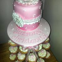 Pink Flower Christening Cake Cupcake Tower this ais a small 5 inch top cake with cupcakes